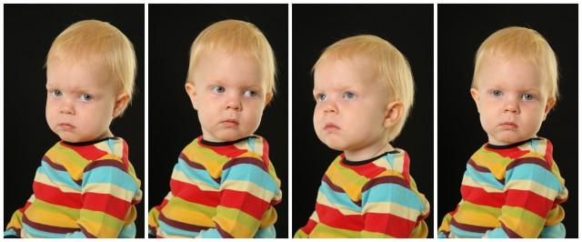 Allvarlig snart 2-årig Sander på förskolefoto